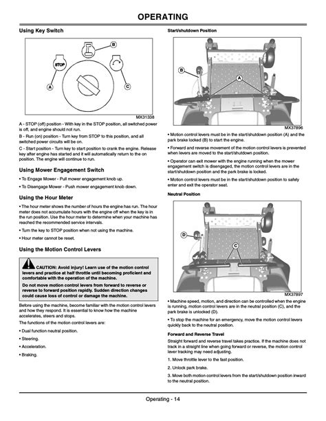 Using key switch, Using mower engagement switch, Using the