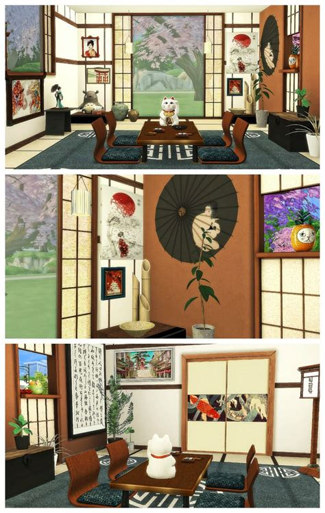 JAPANESE DINING ROOM | Sims 4 Decoration | Sims 4, Sims
