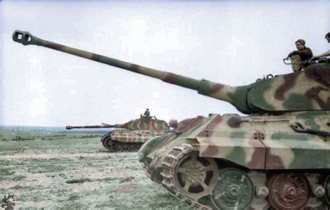 """One of my first colourings of Two Panzer VI """"Tiger II"""